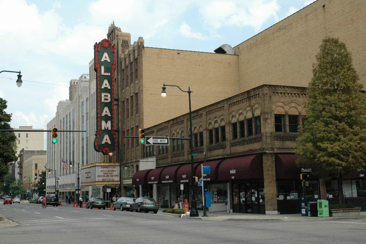 The exterior and marquee of the Alabama Theatre during the day.
