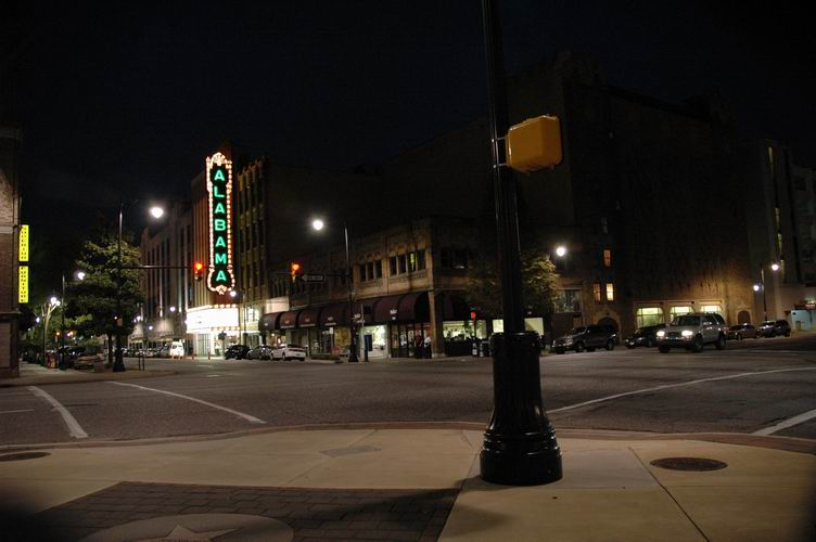 The exterior and marquee of the Alabama Theatre at night.