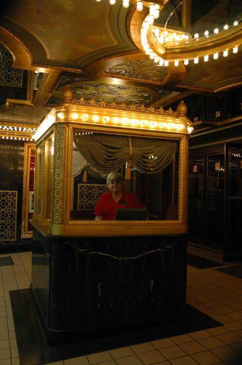 The ticket booth in the exterior lobby of the Alabama Theatre.