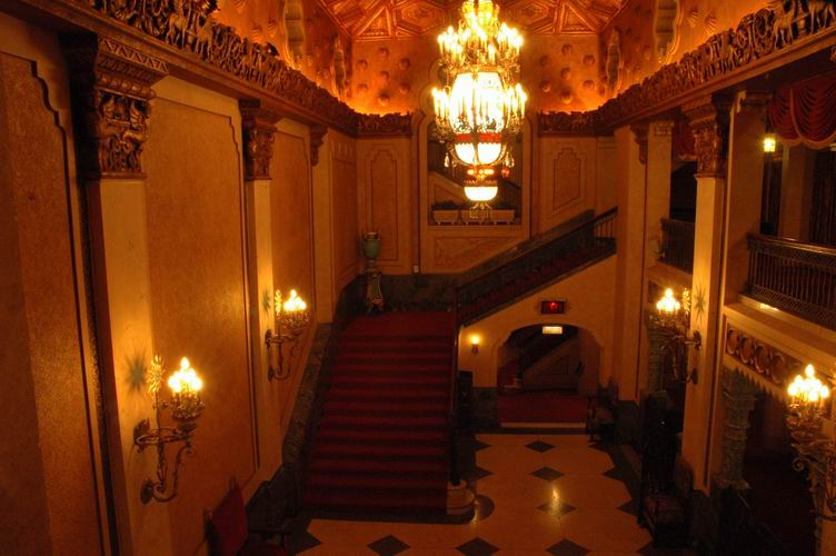 Lobby and stairs to the mezzanine of the Alabama Theatre.